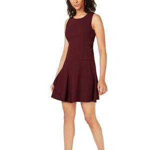 Bar III Dress Tiered Lace Up Burgundy Sz XS NEW